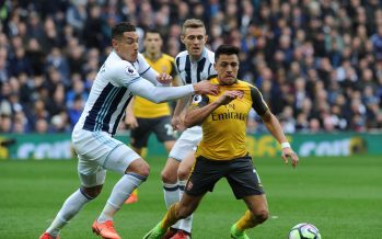 WEST BROMWICH, ENGLAND - MARCH 18:  Alexis Sanchez of Arsenal turns away from Jake Livermore and Darren Fletcher of WBA during the Premier League match between West Bromwich Albion and Arsenal at The Hawthorns on March 18, 2017 in West Bromwich, England.  (Photo by David Price/Arsenal FC via Getty Images) *** Local Caption *** Alexis Sanchez; Jake Livermore; Darren Fletcher
