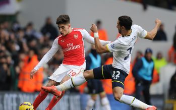 LONDON, ENGLAND - FEBRUARY 7: Hector Bellerin of Arsenal challenged by Nacer Chadli of Tottenham during the Barclays Premier League match between Tottenham Hotspur and Arsenal at White Hart Lane on February 7, 2015 in London, England.  (Photo by Stuart MacFarlane/Arsenal FC via Getty Images) *** Local Caption *** Hector Bellerin;Nacer Chadli