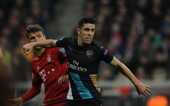 MUNICH, GERMANY - NOVEMBER 04: Gabriel of Arsenal holds off Thomas Muller of Bayern Munich during the UEFA Champions League Group Stage match between Bayern Muenchen and Arsenal at the Allianz Arena on November 4, 2015 in Munich, Germany. (Photo by Stuart MacFarlane/Arsenal FC via Getty Images *** Local Caption *** Gabriel;Thomas Muller