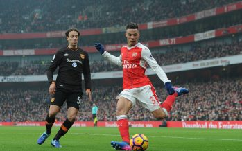 LONDON, ENGLAND - FEBRUARY 11:  Kieran Gibbs of Arsenal crosses under pressure from Lazar Markovic of Hull during the Premier League match between Arsenal and Hull City at Emirates Stadium on February 11, 2017 in London, England.  (Photo by David Price/Arsenal FC via Getty Images) *** Local Caption *** Kieran Gibbs; Lazar Markovic