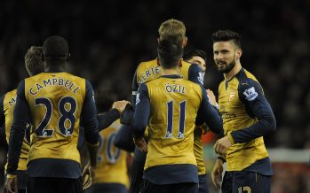 LIVERPOOL, ENGLAND - JANUARY 13:  Olivier Giroud celebrates scoring Arsenal's 2nd goal with his team mates during the Barclays Premier League match between Liverpool and Arsenal at Anfield Stadium on January 13th, 2016 in Liverpool in England  (Photo by David Price/Arsenal FC via Getty Images) *** Local Caption *** Olivier Giroud