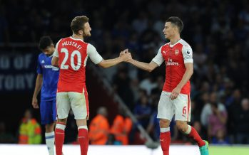 LONDON, ENGLAND - SEPTEMBER 24:  (L-R) Shkodran Mustafi and Laurent Koscielny of Arsenal during the Premier League match between Arsenal and Chelsea at Emirates Stadium on September 24, 2016 in London, England.  (Photo by Stuart MacFarlane/Arsenal FC via Getty Images) *** Local Caption *** Shkodran Mustafi;Laurent Koscielny