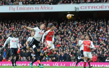 LONDON, ENGLAND - NOVEMBER 06:  (L) Tottenham defender Kevin Wimmer  under pressure from (R) Laurent Koscielny scores an own goal during the Premier League match between Arsenal and Tottenham Hotspur at Emirates Stadium on November 6, 2016 in London, England.  (Photo by Stuart MacFarlane/Arsenal FC via Getty Images) *** Local Caption *** Laurent Koscielny;Kevin Wimmer