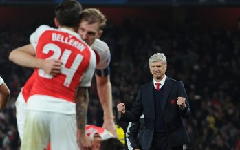 LONDON, ENGLAND - OCTOBER 20:  Arsenal manager Arsene Wenger celebrates the 2nd goal, scored by Mesut Ozil during the UEFA Champions League match between Arsenal and Bayern Munchen at Emirates Stadium on October 20, 2015 in London, United Kingdom.  (Photo by Stuart MacFarlane/Arsenal FC via Getty Images) *** Local Caption *** Arsene Wenger