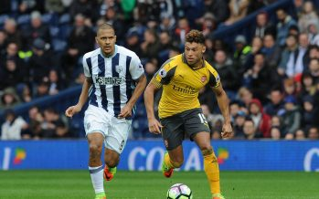 WEST BROMWICH, ENGLAND - MARCH 18:  Alex Oxlade-Chamberlan of Arsenal takes on Salomon Rondon of WBA during the Premier League match between West Bromwich Albion and Arsenal at The Hawthorns on March 18, 2017 in West Bromwich, England.  (Photo by David Price/Arsenal FC via Getty Images) *** Local Caption *** Alex Oxlade-Chamberlain; Salomon Rondon