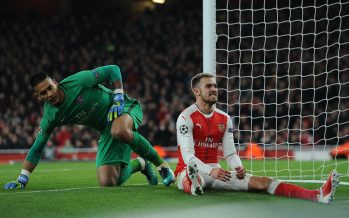 LONDON, ENGLAND - NOVEMBER 23:  Aaron Ramsey of Arsenal looks frustrated as Alphonse Areola of PSG looks on during the UEFA Champions League match between Arsenal FC and Paris Saint-Germain at Emirates Stadium on November 23, 2016 in London, England.  (Photo by David Price/Arsenal FC via Getty Images) *** Local Caption *** Aaron Ramsey; Alphonse Areola