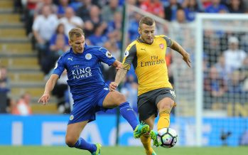 LEICESTER, ENGLAND - AUGUST 20:  Jack Wilshere of Arsenal breaks past Mark Albrighton of Leicester during the Premier League match between Leicester City and Arsenal at The King Power Stadium on August 20, 2016 in Leicester, England.  (Photo by Stuart MacFarlane/Arsenal FC via Getty Images) *** Local Caption *** Jack Wilshere;Mark Albrighton