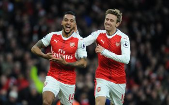LONDON, ENGLAND - NOVEMBER 27:  (L) Theo Walcott celebrates scoring the 2nd Arsenal goal with (R) Nacho Monreal during the Premier League match between Arsenal and AFC Bournemouth at Emirates Stadium on November 27, 2016 in London, England.  (Photo by Stuart MacFarlane/Arsenal FC via Getty Images) *** Local Caption *** Premier League;Theo Walcott;Nacho Monreal