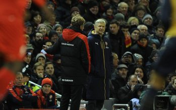 LIVERPOOL, ENGLAND - JANUARY 13:  Arsene Wenger the Arsenal Manager with Jurgen Klopp the Liverpool Manager during the Barclays Premier League match between Liverpool and Arsenal at Anfield Stadium on January 13th, 2016 in Liverpool in England  (Photo by David Price/Arsenal FC via Getty Images) *** Local Caption *** Arsene Wenger; Jurgen Klopp