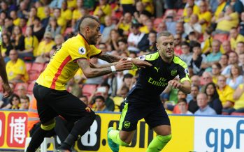 WATFORD, ENGLAND - AUGUST 27:  Jack Wilshere of Arsenal takes on Roberto Pereyra of Watford during the Premier League match between Watford and Arsenal at Vicarage Road on August 27, 2016 in Watford, England.  (Photo by David Price/Arsenal FC via Getty Images) *** Local Caption *** Jack Wilshere; Roberto Pereyra