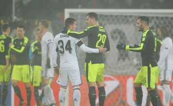 BASEL, SWITZERLAND - DECEMBER 06: Granit Xhaka of Arsenal with Taulant Xhaka of Basel after the UEFA Champions League match between FC Basel and Arsenal at St. Jakob-Park on December 6, 2016 in Basel, Basel-Stadt. (Photo by Stuart MacFarlane/Arsenal FC via Getty Images) *** Local Caption *** UEFA Champions League; Granit Xhaka; Taulant Xhaka