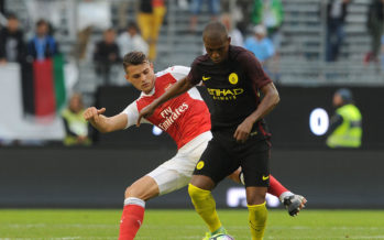 GOTHENBURG, SWEDEN - AUGUST 07:  Granit Xhaka of Arsenal challenges Fernandinho of Man City during the match between Arsenal and Manchester City at Ullevi on August 7, 2016 in Gothenburg, Sweden.  (Photo by David Price/Arsenal FC via Getty Images) *** Local Caption *** Granit Xhaka; Fernandinho