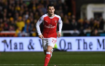 SUTTON, GREATER LONDON - FEBRUARY 20:  Granit Xhaka of Arsenal during the Emirates FA Cup Fifth Round match between Sutton United and Arsenal on February 20, 2017 in Sutton, Greater London.  (Photo by Stuart MacFarlane/Arsenal FC via Getty Images) *** Local Caption *** Granit Xhaka