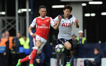 LONDON, ENGLAND - APRIL 30:  Kieran Gibbs of Arsenal takes on Heung-Min Son of Tottenham during the Premier League match between Tottenham Hotspur and Arsenal at White Hart Lane on April 30, 2017 in London, England.  (Photo by David Price/Arsenal FC via Getty Images) *** Local Caption *** Kieran Gibbs; Heung-Min Son