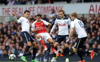 LONDON, ENGLAND - APRIL 30:  Alexis Sanchez of Arsenal is closed down by Dele Alli, Christian Eriksen and Eric Dier of Tottenham during the Premier League match between Tottenham Hotspur and Arsenal at White Hart Lane on April 30, 2017 in London, England.  (Photo by David Price/Arsenal FC via Getty Images) *** Local Caption *** Alexis Sanchez; Dele Alli; Christian Eriksen; Eric Dier