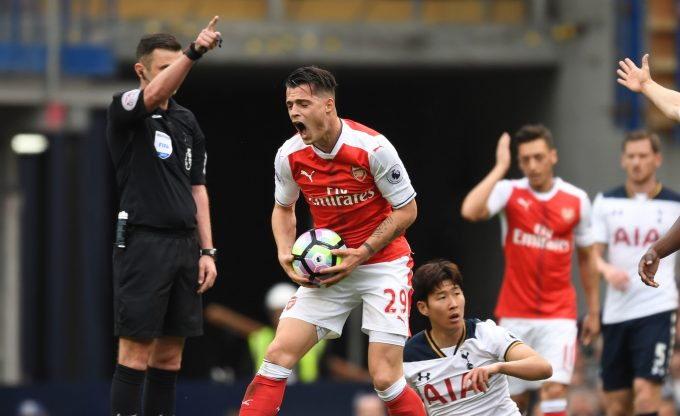 LONDON, ENGLAND - APRIL 30: Arsenal's Granit Xhaka reacts after referee Michael Olivier blows for a foul of Tottenham's Heung-Min Son during the Premier League match between Tottenham Hotspur and Arsenal at White Hart Lane on April 30, 2017 in London, England. (Photo by Stuart MacFarlane/Arsenal FC via Getty Images ) *** Local Caption *** Granit Xhaka;Michael Olivier;Heung-Min Son