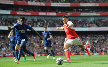 LONDON, ENGLAND - MAY 07:  Alexis Sanchez of Arsenal takes on Axel Tuanzebe of Man Utd during the Premier League match between Arsenal and Manchester United at Emirates Stadium on May 7, 2017 in London, England.  (Photo by David Price/Arsenal FC via Getty Images) *** Local Caption *** Alexis Sanchez; Axel Tuanzebe