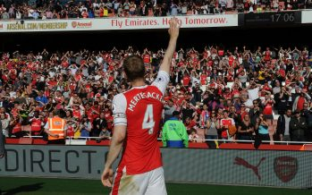 LONDON, ENGLAND - MAY 21:  Per Mertesacker of Arsenal waves to the fans after the Premier League match between Arsenal and Everton at Emirates Stadium on May 21, 2017 in London, England.  (Photo by David Price/Arsenal FC via Getty Images) *** Local Caption *** Per Mertesacker