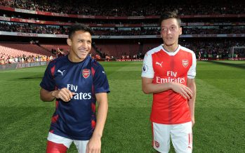 LONDON, ENGLAND - MAY 21:  Mesut Ozil and Alexis Sanchez of Arsenal after the Premier League match between Arsenal and Everton at Emirates Stadium on May 21, 2017 in London, England.  (Photo by David Price/Arsenal FC via Getty Images) *** Local Caption *** Mesut Ozil; Oezil; Alexis Sanchez