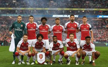 SYDNEY, AUSTRALIA - JULY 15: The Arsenal team line up before the match between the Western Sydney Wanderers and Arsenal FC at ANZ Stadium on July 15, 2017 in Sydney, Australia. (Photo by Stuart MacFarlane/Arsenal FC via Getty Images)