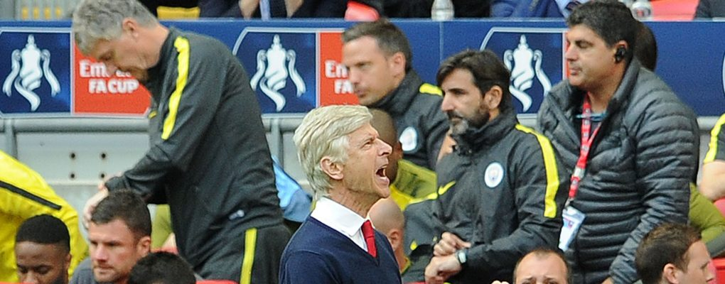 LONDON, ENGLAND - APRIL 23:  Arsene Wenger the Arsenal Manager celebrates at the final whistle after the match between Arsenal and Manchester City at Wembley Stadium on April 23, 2017 in London, England.  (Photo by David Price/Arsenal FC via Getty Images) *** Local Caption *** Arsene Wenger