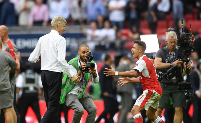 LONDON, ENGLAND - MAY 27:  Arsene Wenger the Manager celebrates with Alexis Sanchez after the match between Arsenal and Chelsea at Wembley Stadium on May 27, 2017 in London, England.  (Photo by David Price/Arsenal FC via Getty Images) *** Local Caption *** Arsene Wenger; Alexis Sanchez