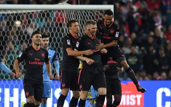 SYDNEY, AUSTRALIA - JULY 13:  Per Mertesacker celebrates scoring a goal for Arsenal with Sead Kolasinac, Krystian Bielik and Francis Coquelin during the match between Sydney FC and Arsenal at ANZ Stadium on July 13, 2017 in Sydney, Australia.  (Photo by David Price/Arsenal FC via Getty Images) *** Local Caption *** Per Mertesacker; Sead Kolasinac; Krystian Bielik; Francis Coquelin