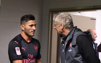 SYDNEY, AUSTRALIA - JULY 13: Arsenal manager Arsene Wenger shakes hands with Sead Kolasinac the pre-season friendly match between Sydney FC and Arsenal at ANZ Stadium on July 13, 2017 in Sydney, New South Wales. (Photo by Stuart MacFarlane/Arsenal FC via Getty Images) *** Local Caption *** Arsene Wenger;Sead Kolasinac