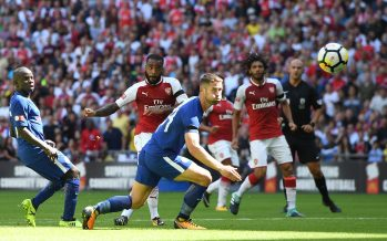 LONDON, ENGLAND - AUGUST 06:  Alexandre Lacazette of Arsenal shoots past Gary Cahill of Chelsea during the match between Chelsea and Arsenal at Wembley Stadium on August 6, 2017 in London, England.  (Photo by David Price/Arsenal FC via Getty Images) *** Local Caption *** Alexandre Lacazette; Gary Cahill