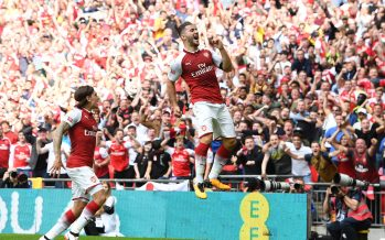 LONDON, ENGLAND - AUGUST 06:  Sead Kolasinac celebrates scoring a goal for Arsenal during the match between Chelsea and Arsenal at Wembley Stadium on August 6, 2017 in London, England.  (Photo by David Price/Arsenal FC via Getty Images) *** Local Caption *** Sead Kolasinac