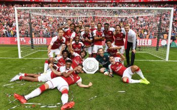 LONDON, ENGLAND - AUGUST 06:  The Arsenal team celebrate after the FA Community Shield match between Chelsea and Arsenal at Wembley Stadium on August 6, 2017 in London, England.  (Photo by Stuart MacFarlane/Arsenal FC via Getty Images) *** Local Caption *** Arsenal celebrate