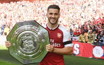 LONDON, ENGLAND - AUGUST 06: Sead Kolasinac of Arsenal with the Community shield after the FA Community Shield match between Chelsea and Arsenal at Wembley Stadium on August 6, 2017 in London, England. (Photo by Stuart MacFarlane/Arsenal FC via Getty Images) *** Local Caption *** Sead Kolasinac