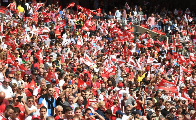 LONDON, ENGLAND - AUGUST 06: Arsenal fans during the FA Community Shield match between Chelsea and Arsenal at Wembley Stadium on August 6, 2017 in London, England. (Photo by Stuart MacFarlane/Arsenal FC via Getty Images) *** Local Caption *** Arsenal fans
