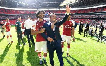 LONDON, ENGLAND - AUGUST 06:  (L-R) Mohamed Elneny and Santi Cazorla after the FA Community Shield match between Chelsea and Arsenal at Wembley Stadium on August 6, 2017 in London, England.  (Photo by Stuart MacFarlane/Arsenal FC via Getty Images) *** Local Caption *** Mohamed Elneny;Santi Cazorla