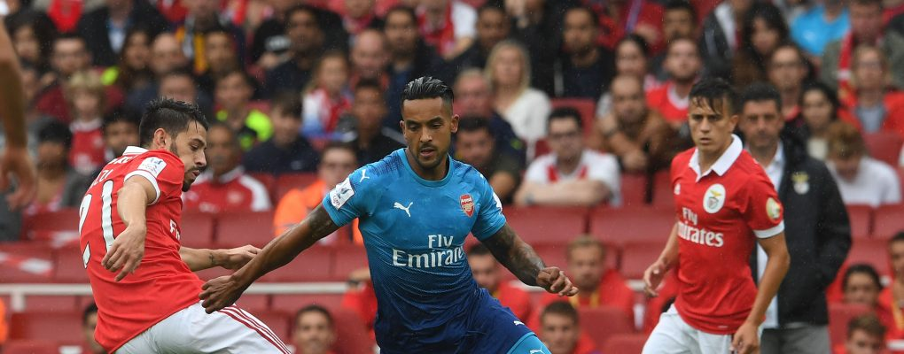 LONDON, ENGLAND - JULY 29:  Theo Walcott of Arsenal skips past Pizzi of Benfica during the match between Arsenal and SL Benfica at Emirates Stadium on July 29, 2017 in London, England.  (Photo by David Price/Arsenal FC via Getty Images) *** Local Caption *** Theo Walcott; Pizzi