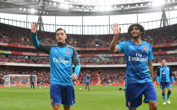 LONDON, ENGLAND - JULY 29:  (L-R) Mesut Ozil and Mohamed Elneny of Arsenal before the Emirates Cup match between Arsenal and SL Benfica at Emirates Stadium on July 29, 2017 in London, England.  (Photo by Stuart MacFarlane/Arsenal FC via Getty Images) *** Local Caption *** Mesut Ozil; Oezil; Mohamed Elneny