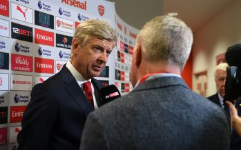 LONDON, ENGLAND - AUGUST 11:  Arsene Wenger the Arsenal Manager is interviewed by Sky Sports before the Premier League match between Arsenal and Leicester City at Emirates Stadium on August 11, 2017 in London, England.  (Photo by David Price/Arsenal FC via Getty Images) *** Local Caption *** Arsene Wenger