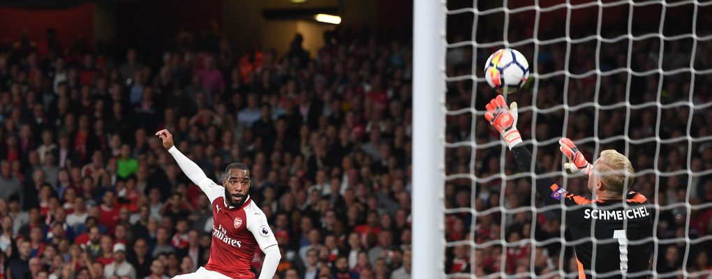 LONDON, ENGLAND - AUGUST 11:  Alexandre Lacazette of Arsenal sees his shot saved by Kasper Schmeichel of Leicester during the Premier League match between Arsenal and Leicester City at Emirates Stadium on August 11, 2017 in London, England.  (Photo by David Price/Arsenal FC via Getty Images) *** Local Caption *** Alexandre Lacazette; Kasper Schmeichel