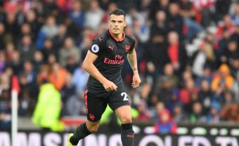 STOKE ON TRENT, ENGLAND - AUGUST 19:  Granit Xhaka of Arsenal during the Premier League match between Stoke City and Arsenal at Bet365 Stadium on August 19, 2017 in Stoke on Trent, England.  (Photo by Stuart MacFarlane/Arsenal FC via Getty Images) *** Local Caption *** Granit Xhaka