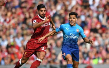 LIVERPOOL, ENGLAND - AUGUST 27:  Alexis Sanchez of Arsenal takes on Emre Casn of Liverpool during the Premier League match between Liverpool and Arsenal at Anfield on August 27, 2017 in Liverpool, England.  (Photo by Stuart MacFarlane/Arsenal FC via Getty Images) *** Local Caption *** Alexis Sanchez;Emre Can