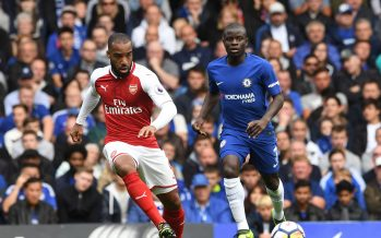 LONDON, ENGLAND - SEPTEMBER 17:  Alexandre Lacazette of Arsenal passes the ball under pressure from N'Golo Kante of Chelsea during the Premier League match between Chelsea and Arsenal at Stamford Bridge on September 17, 2017 in London, England.  (Photo by David Price/Arsenal FC via Getty Images) *** Local Caption *** Alexandre Lacazette; N'Golo Kante