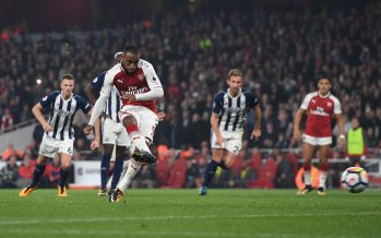 LONDON, ENGLAND - SEPTEMBER 25:  Alexandre Lacazette scores his and Arsenal's 2nd goal from the penalty spot during the Premier League match between Arsenal and West Bromwich Albion at Emirates Stadium on September 25, 2017 in London, England.  (Photo by David Price/Arsenal FC via Getty Images) *** Local Caption *** Alexandre Lacazette