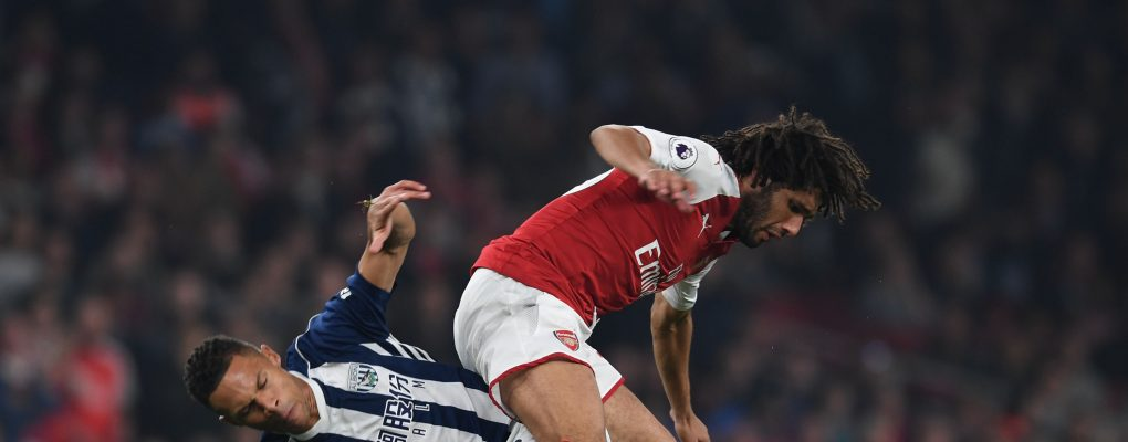 LONDON, ENGLAND - SEPTEMBER 25:  Mohamed Elneny of Arsenal challenged by Kieran Gibbs of West Brom during the Premier League match between Arsenal and West Bromwich Albion at Emirates Stadium on September 25, 2017 in London, England.  (Photo by Stuart MacFarlane/Arsenal FC via Getty Images) *** Local Caption *** Mohamed Elneny;Kieran Gibbs