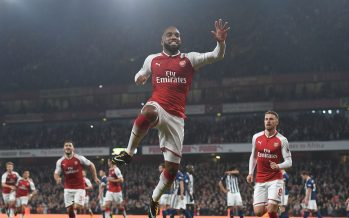 LONDON, ENGLAND - SEPTEMBER 25:  Alex Lacazette celebrates scoring for Arsenal during the Premier League match between Arsenal and West Bromwich Albion at Emirates Stadium on September 25, 2017 in London, England.  (Photo by Stuart MacFarlane/Arsenal FC via Getty Images) *** Local Caption *** Alex Lacazette;goal