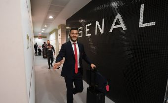 LONDON, ENGLAND - OCTOBER 01:  Sead Kolasinac in the Arsenal changing room before the Premier League match between Arsenal and Brighton and Hove Albion at Emirates Stadium on September 30, 2017 in London, England.  (Photo by Stuart MacFarlane/Arsenal FC via Getty Images) *** Local Caption *** Sead Kolasinac