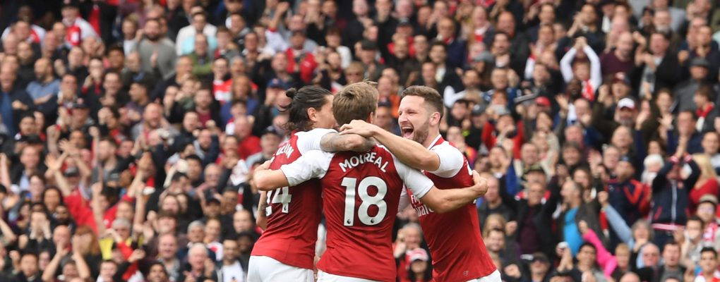 LONDON, ENGLAND - OCTOBER 01:  (2ndL) Nacho Monreal celebrates his goal with (L) Hector Bellerin and (R) Shkodran Mustafi  during the Premier League match between Arsenal and Brighton and Hove Albion at Emirates Stadium on September 30, 2017 in London, England.  (Photo by Stuart MacFarlane/Arsenal FC via Getty Images) *** Local Caption *** Nacho Monreal;Hector Bellerin;Shkodran Mustafi