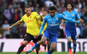 WATFORD, ENGLAND - OCTOBER 14:  Alex Iwobi of Arsenal challenged by Richarlison of Watford during the Premier League match between Watford and Arsenal at Vicarage Road on October 14, 2017 in Watford, England.  (Photo by Stuart MacFarlane/Arsenal FC via Getty Images) *** Local Caption *** Alex Iwobi;Richarlison
