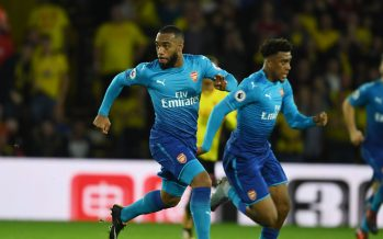WATFORD, ENGLAND - OCTOBER 14: Alex Lacazette of Arsenal during the Premier League match between Watford and Arsenal at Vicarage Road on October 14, 2017 in Watford, England. (Photo by Stuart MacFarlane/Arsenal FC via Getty Images) *** Local Caption *** Alex Lacazette