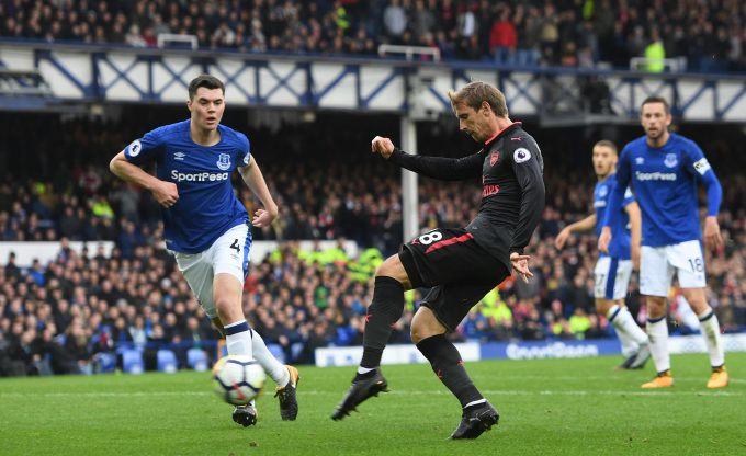 LIVERPOOL, ENGLAND - OCTOBER 22: Nacho Monreal scores a goal for Arsenal during the Premier League match between Everton and Arsenal at Goodison Park on October 22, 2017 in Liverpool, England.  (Photo by David Price/Arsenal FC via Getty Images) *** Local Caption *** Nacho Monreal