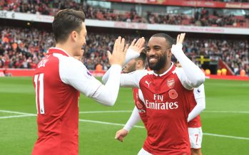 LONDON, ENGLAND - OCTOBER 28:  (L-R) Mesut Ozil and Alex Lacazette of Arsenal before the Premier League match between Arsenal and Swansea City at Emirates Stadium on October 28, 2017 in London, England.  (Photo by Stuart MacFarlane/Arsenal FC via Getty Images) *** Local Caption *** Mesut Ozil;Oezil;Alex Lacazette
